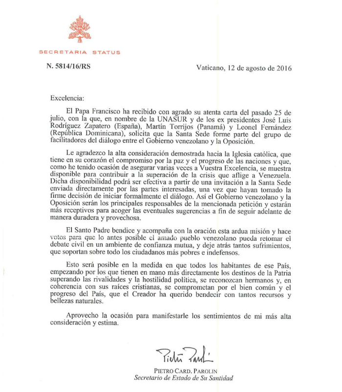 papa francisco solicita invitación formal para unirse al diálogo