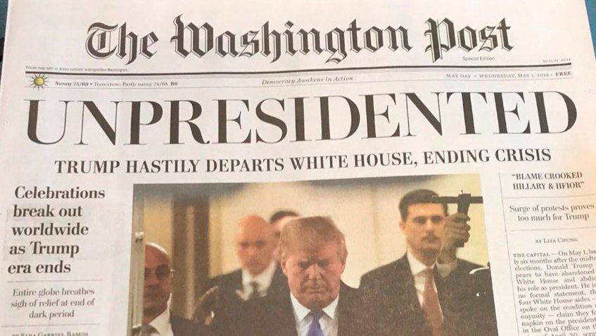 Trump renuncia según edición falsa de The Washington Post