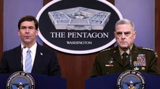 Defense Secretary Mark Esper (L) and Chairman of the Joint Chiefs of Staff Gen. Mark Milley